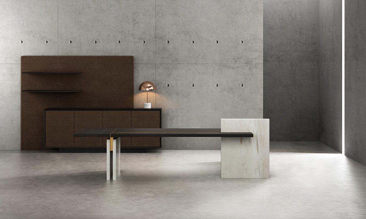 Modernes Design Luxus Holz Executive Tisch (HC-Stone)